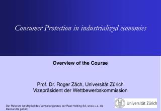 Consumer Protection in industrialized economies