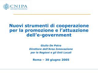 Nuovi strumenti di cooperazione per la promozione e l'attuazione dell'e-government