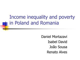 Income inequality and poverty in Poland and Romania