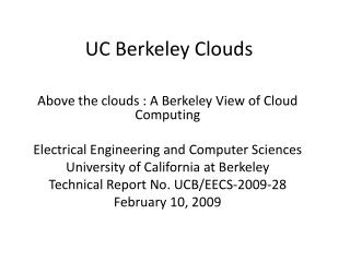 UC Berkeley Clouds