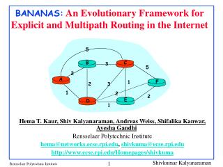 BANANAS:  An Evolutionary Framework for Explicit and Multipath Routing in the Internet