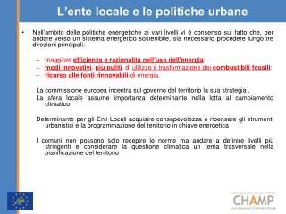 L'ente locale e le politiche urbane