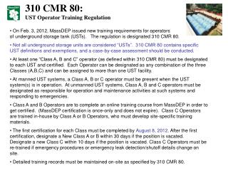 310 CMR 80: UST Operator Training Regulation