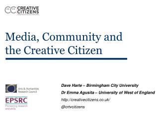 Media, Community and the Creative Citizen