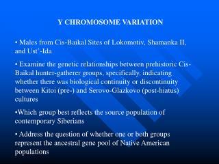 Y CHROMOSOME VARIATION