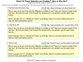 Which Of These Websites are Credible?  Why or Why Not?