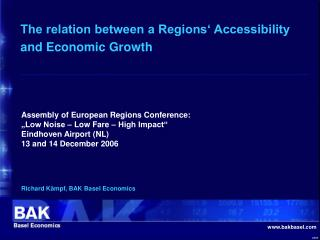 The relation between a Regions' Accessibility and Economic Growth