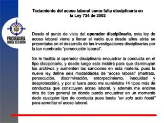 Tratamiento del acoso laboral como falta disciplinaria en la Ley 734 de 2002