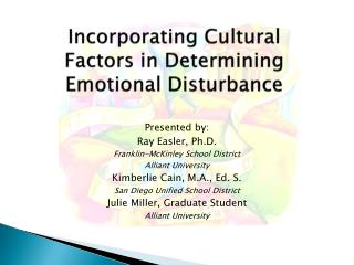 Incorporating Cultural Factors in Determining Emotional Disturbance