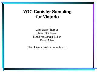 VOC Canister Sampling for Victoria