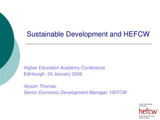 Sustainable Development and HEFCW