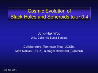 Cosmic Evolution of  Black Holes and Spheroids to z~0.4
