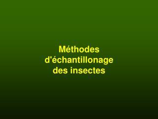M�thodes d'�chantillonage des insectes