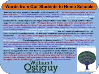 Words from Our Students to Home Schools