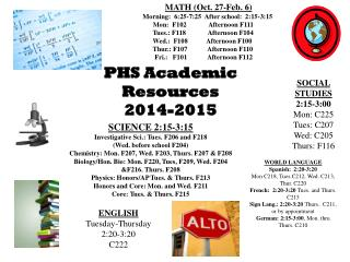 PHS Academic Resources 2014-2015