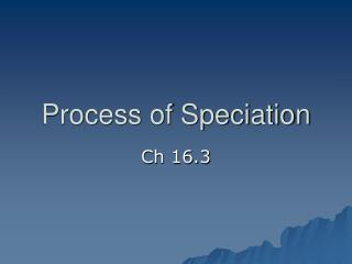 Process of Speciation