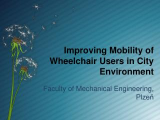 Improving Mobility of Wheelchair Users in City Environment