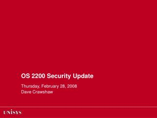 OS 2200 Security Update