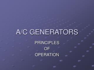 A/C GENERATORS