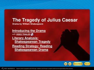 Introducing the Drama with Literary Analysis:  Shakespearean Tragedy Reading Strategy: Reading
