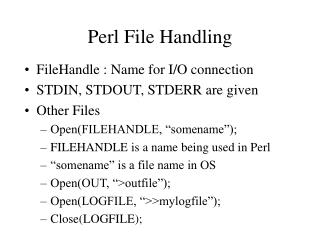 Perl File Handling