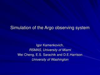 Simulation of the Argo observing system