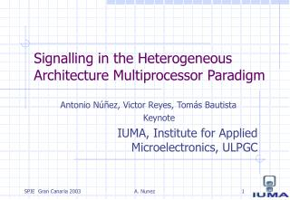 Signalling in the Heterogeneous Architecture Multiprocessor Paradigm