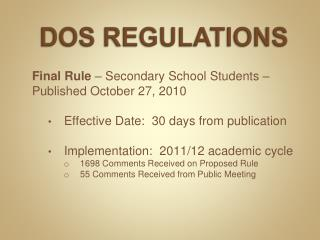 DOS REGULATIONS