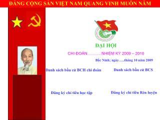 ĐẠI HỘI CHI ĐOÀN………..NHIỆM KỲ 2009 – 2010 Bắc Ninh; ngày…..tháng 10 năm 2009