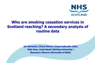 Who are smoking cessation services in Scotland reaching? A secondary analysis of routine data