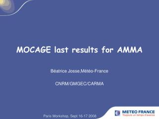 MOCAGE last results for AMMA