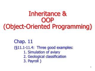 Inheritance &  OOP  (Object-Oriented Programming)