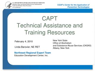 CAPT  Technical Assistance and Training Resources