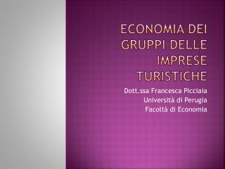 Economia dei gruppi delle imprese turistiche