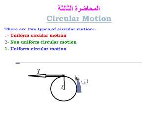 المحاضرة الثالثة Circular Motion