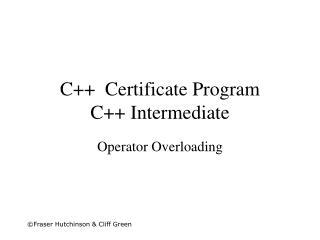 C++  Certificate Program C++ Intermediate