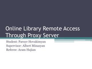 Online Library Remote Access Through Proxy Server