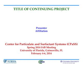 TITLE OF CONTINUING PROJECT