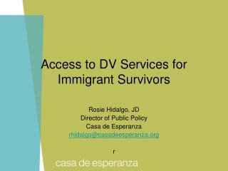 Access to DV Services for Immigrant Survivors