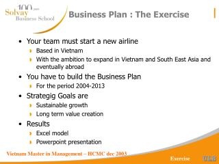 Business Plan : The Exercise