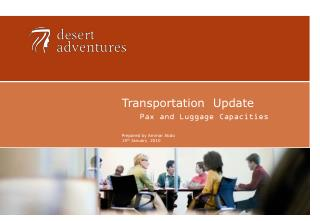Transportation  Update Pax and Luggage Capacities Prepared by Ammar Abdo 15 th  January  2010