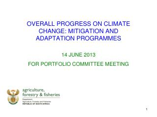 OVERALL PROGRESS ON CLIMATE CHANGE: MITIGATION AND ADAPTATION  PROGRAMMES 14 JUNE 2013