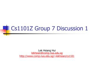 Cs1101Z Group 7 Discussion 1