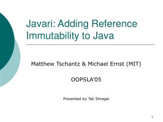 Javari: Adding Reference Immutability to Java