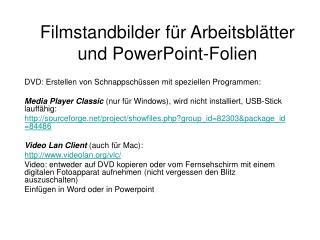 Filmstandbilder für Arbeitsblätter und PowerPoint-Folien