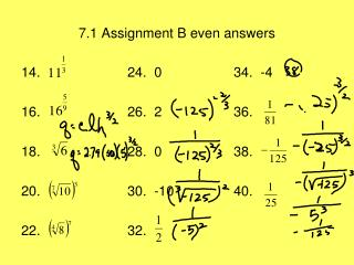 7.1 Assignment B even answers
