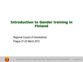 Introduction  to  Gender training  in Finland