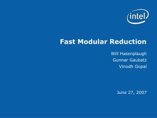 Fast Modular Reduction