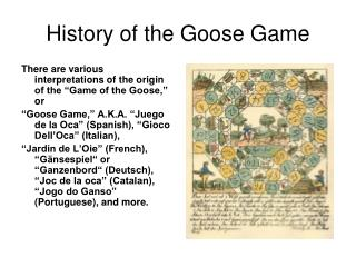 History of the Goose Game