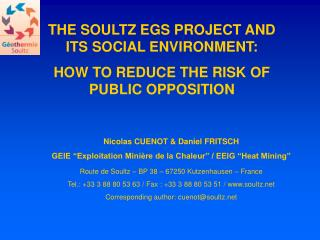 THE SOULTZ EGS PROJECT AND ITS SOCIAL ENVIRONMENT: HOW TO REDUCE THE RISK OF PUBLIC OPPOSITION